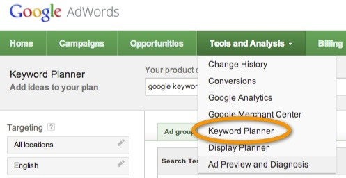 استفاده از گوگل کی ورد پلنر برای تحلیل کلمات کلیدی مقاله و بهینه سازی برای موتورهای جستجو