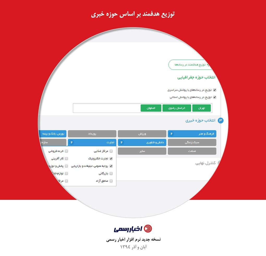 توزیع هدفمند خبر و محتوا بر اساس حوزه خبری در اخبار رسمی